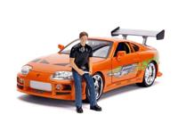 Jada Toys Fast & Furious Diecast Model 1/18 1995 Toyota Supra with Figure Brian with Light-Up Function