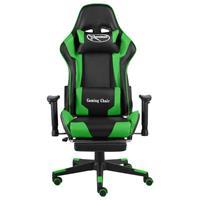 vidaXL Gamestoel draaibaar met voetensteun PVC groen