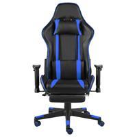 vidaXL Gamestoel draaibaar met voetensteun PVC blauw