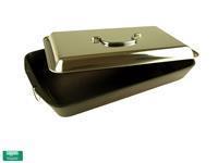 Gietijzeren pan met RVS deksel zwart zilver
