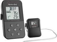 Barbecuethermometer kabelsensor, alarm, met timer, bewaking van kerntemperatuur TFA 14.1504 langzaam garen, varken, rund, hert, kalkoen, lam, konijn, kalf,