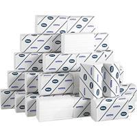 Gevouwen handdoeken Interfold. wit. 2 laags. 21.5 x 31.5 cm. 124 doeken per pak (doos 30 wikkels)