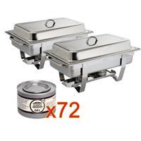 SPECIALE AANBIEDING x2  Milan Chafing Dish met x72  brandpasta gel