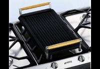 Smeg BB3679 massief gietijzeren grillplaat met neerklapbare houten...