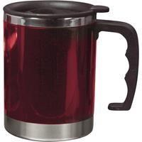 Dubbelwandige thermos/isoleer beker 400 ml rood Rood