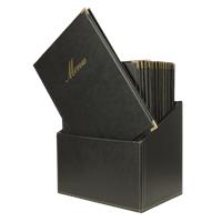 Menubox Classic, A4, Zwart, incl. 20 menukaarten