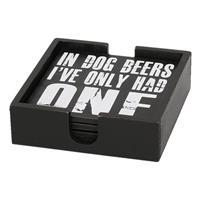 4x Houten onderzetters zwart met tekst - geschikt voor bierglazen/glaswerk