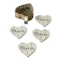 Rivièra Maison Rustic Rattan Heart Coasters