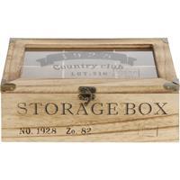 Houten theedoos bruin Storage Box 6-vaks 24 cm Bruin