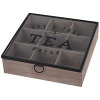 Houten theedoos bruin Tea break 9-vaks 25 cm Bruin