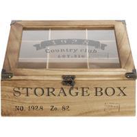 Houten theedoos bruin Storage Box 9-vaks 25 cm Bruin