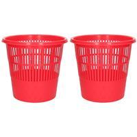 2x Rode vuilnisbakken/prullenbakken 20 liter Groen