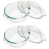 Cosy & Trendy 2x Ovenschalen 22 x 10.5 cm van glas Transparant