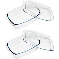 Cosy & Trendy 2x Ovenschalen 34 x 22 x 7 cm van glas Transparant
