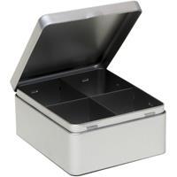 Zilveren 4-vaks theedoos/theekist 15 cm Zilver