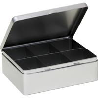 Zilveren 6-vaks theedoos/theekist 20 cm Zilver