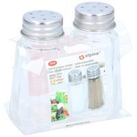 2x Peper en zout stel vaatjes/strooiers 7,5 cm Transparant