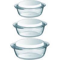 Pyrex 3x Ronde glazen ovenschalen met deksel 1,4/2,1/3 liter Transparant