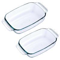 Pyrex 2x Glazen ovenschalen 1,2 en 0,7 liter Transparant