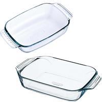 Pyrex 2x Glazen ovenschalen 1,2 en 1,4 liter Transparant