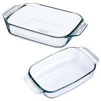 Pyrex 2x Glazen ovenschalen 1,2 en 4 liter Transparant