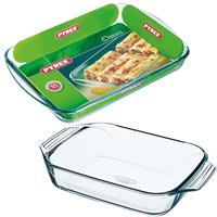 Pyrex 2x Glazen ovenschalen 1,4 en 3,7 liter Transparant
