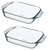 Pyrex 2x Glazen ovenschalen 1,4 en 4 liter Transparant