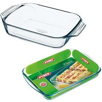 Pyrex 2x Glazen ovenschalen 4 en 3,7 liter Transparant