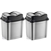 2x stuks zilver/zwarte afvalemmers/vuilnisbakken met deksel 28 liter Multi