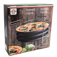 Pizzaplaat bakset met 3 bakplaten 29 cm Zwart