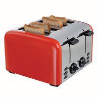 fiftiesstore Retro Broodrooster 4 Sneden - Rood/Zilver