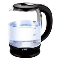 Transparante glazen waterkoker zwart met LED-verlichting - 1,8 liter - 1500 watt - 23 cm - Waterkoker - Water koken