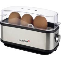 korona Eierkoker Controlelampje, Met maatbeker, Met eierprikker Zwart, RVS