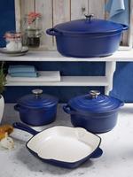 GSW Gietijzeren braadpan Blue Magic  blauw/crèmewit