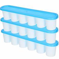Forte Plastics 3x grote Ijsblokjes/ijsklontjes vormen met deksel blauw - 6 stuks - Ijsblokjes/ijsklontjes makers - 30 x 6 cm