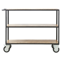 House Doctor Trolley Zwart / hout 98 X 40 X 130