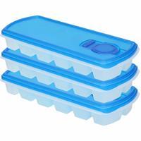 Forte Plastics 3x Ijsblokjes/ijsklontjes vormen met deksel blauw - 12 stuks - Ijsblokjes/ijsklontjes makers