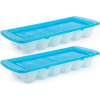 Forte Plastics 2x Ijsblokjes/ijsklontjes vormen met deksel blauw - 12 stuks - Ijsblokjes/ijsklontjes makers