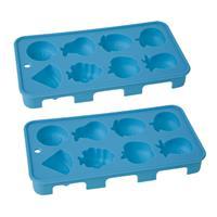 Cosy & Trendy Set van 2x stuks ijsblokjes/ijsklontjes fruitvorm voor 8 blokjes - ijsblokjesvorm