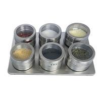 Kruidenrek met 6 Magnetische Kruidenpotjes - Kruidenpot met Magneet - Keuken Kruidenrekje voor specerijen - Spice Rack