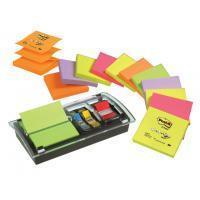 Post-it Dispenser Z-Notes Value Pack Incl. 12 blokken gesorteerde neonkleuren en standaard en smalle indexen