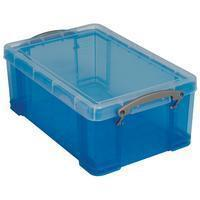 Reallyusefulboxes Really Useful Box 9 liter, transparant blauw