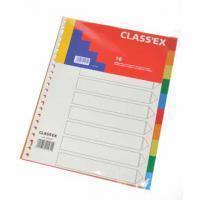 Class'ex tabbladen 10 tabs, met indexblad, 23-gaatsperforatie, PP, geassorteerde kleuren