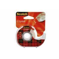 Scotch Plakband Crystal ft 19 mm x 25 m, blister met 1 afroller met 1 rolletje