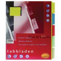 Multo Tabbladen  A5 17-gaats 5-delig ass karton 180gr