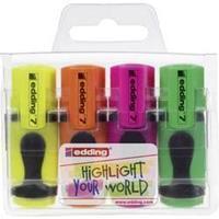 Edding 4-7-4 Highlighter Geel, Oranje, Roze, Groen Schegvorm 1 - 3 mm 4 stuks