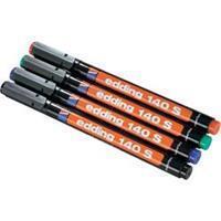 Edding E-140 S Permanent marker Zwart, Rood, Blauw, Groen Ronde vorm 0.3 mm (max) 4 stuks