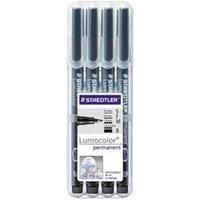 Staedtler OHP-marker Lumocolor Permanent set van 4 stuks in kleur zwart: 1 x superfijn, 1 x fijn, 1 x ...