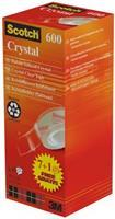 Scotch Crystal Tape 600 doorzichtige. glanzende afwerking. 19 mm x 33 m (pak 8 rollen)