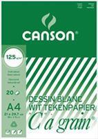 """Canson tekenblok """"C"""" à grain 125 g/m², ft 21 x 29,7 cm (A4)"""
